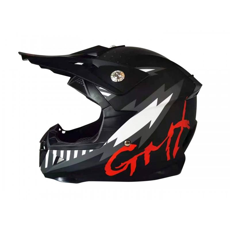 GMX Motocross Junior Helmet Black - Large